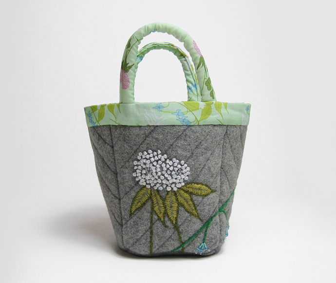 clover and bluebell embroidery, knitting project bag, kate rowe