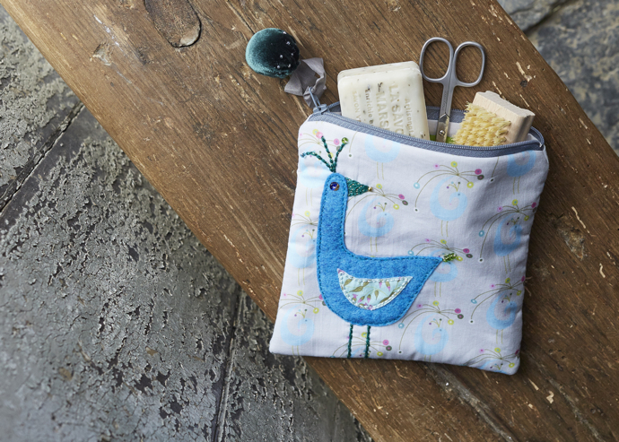 embroidered bird make up bag, mid-century make up bag,