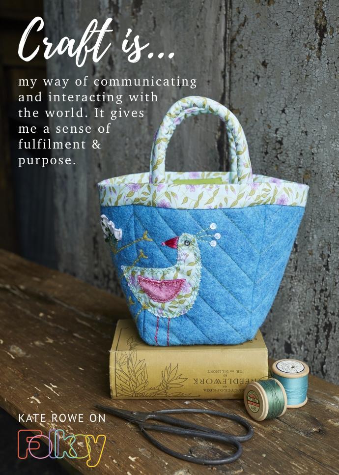 Kate Rowe, textile designer, mid-century textiles, mid-century embroidered bird