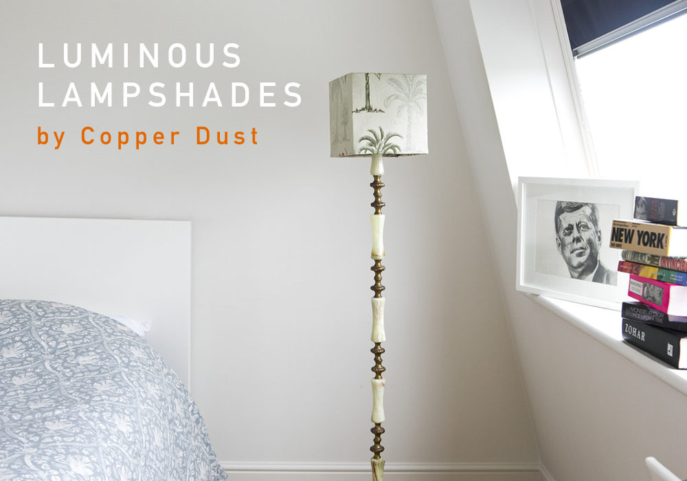 luminous lampshades, copper dust, handmade lampshades, folksyfriday