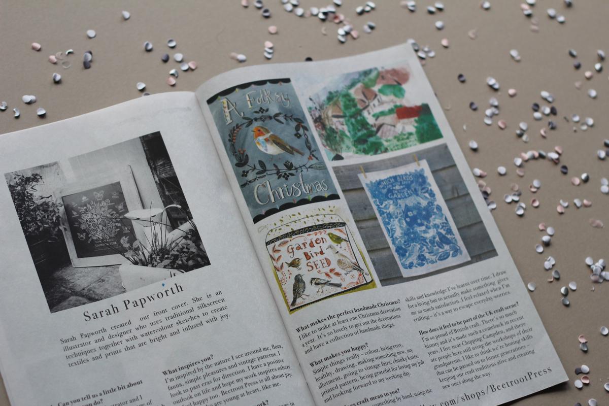 Folksy Christmas magazine, Sarah Papworth, interview, Sarah Papworth interview, newspaper club, mini newspaper,