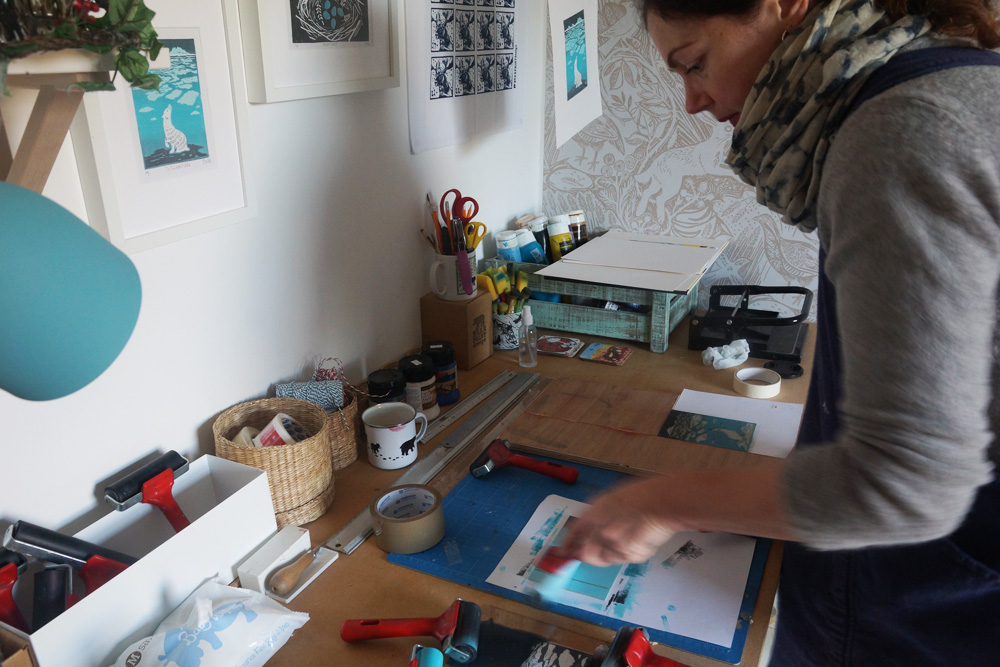 bearprint design, linocut prints, printmaker