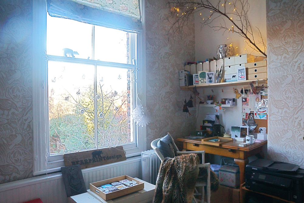 artist studio, printmaker studio, bear print design, bearprintdesign
