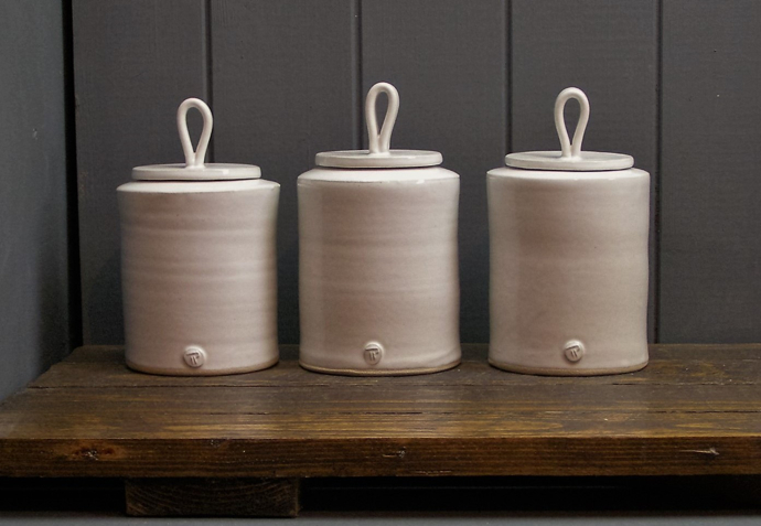 ceramic storage jars, handmade pottery, Trawden Pottery