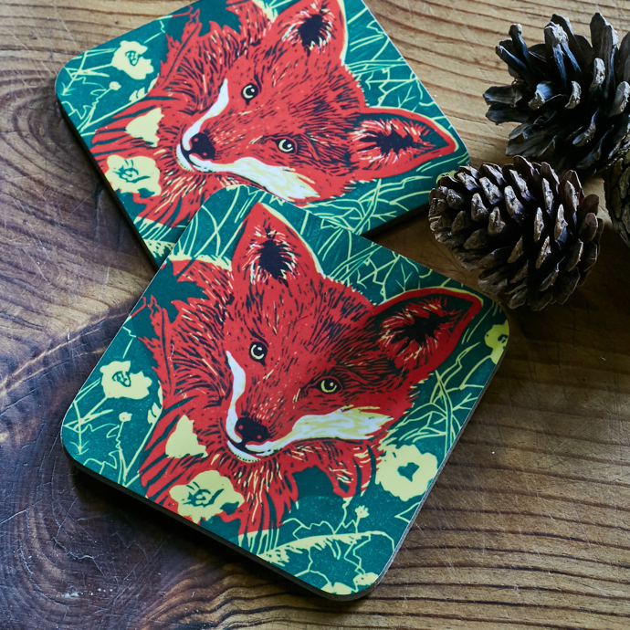 Fox coasters, red fox, bearprint design