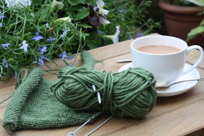 green yarn, knitting,
