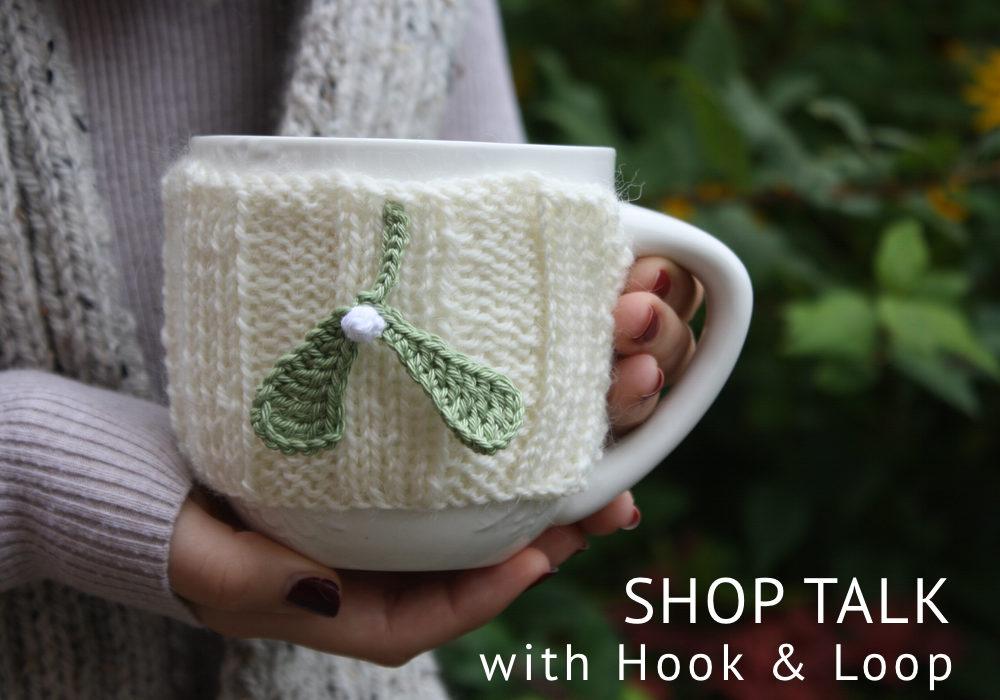 mistletoe mug cosy, hook and loop, shop talk