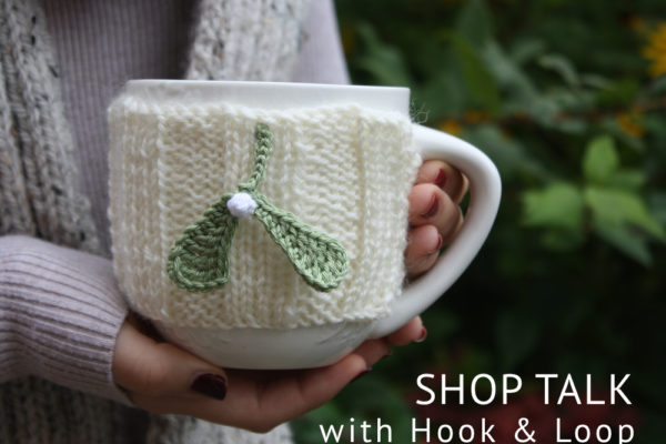 mistletoe mug cosy, hook and loop, shop talk