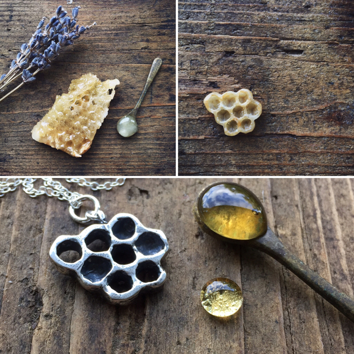 Gracie Flo Jewellery, lost wax technique, honeycomb necklace, honeycomb jewellery, nature inspired jewellery,