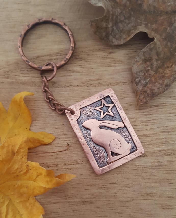 copper hare keyring, stargazing hare,