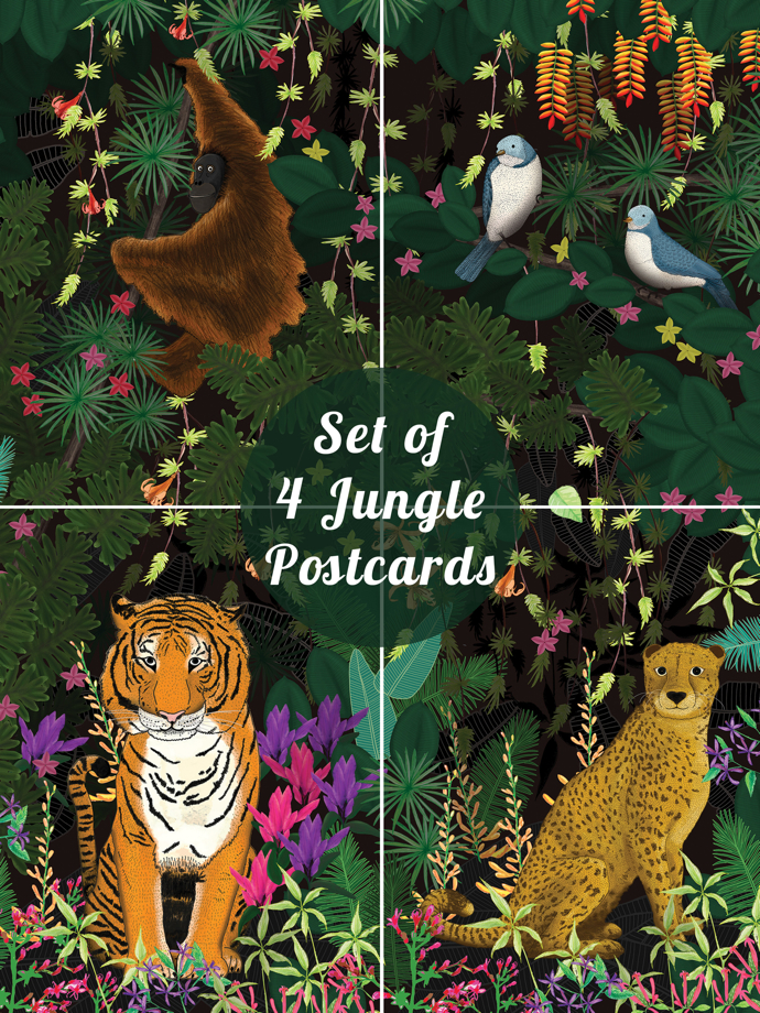Lydia Meiying, Lydia Meiying illustrator, jungle postcards