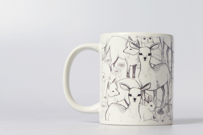 Lydia Meiying, Lydia Meiying illustrator, woodland deer mug,