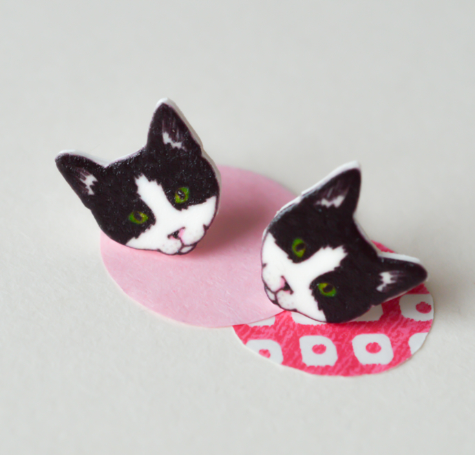 black and white cat earrings, The Catkin Boutique,