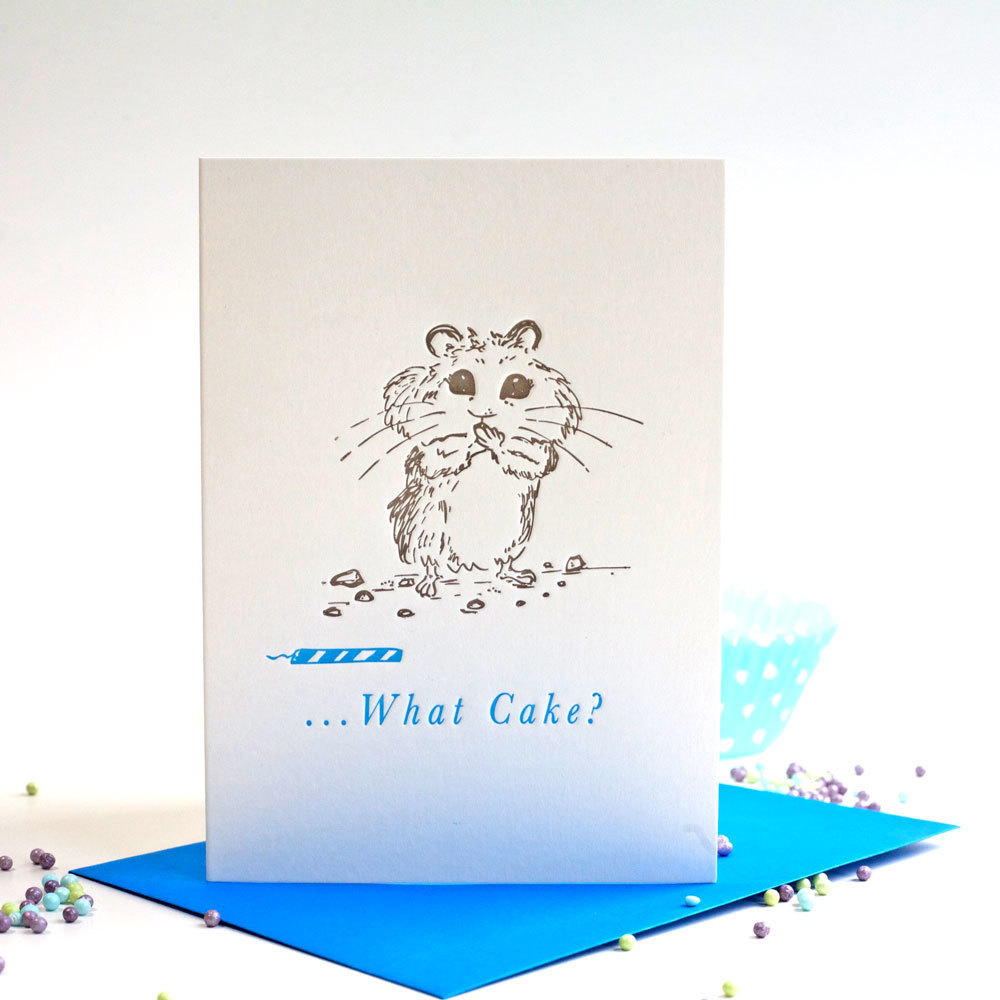 Cake What Cake card, letterpress card, Ellie Press