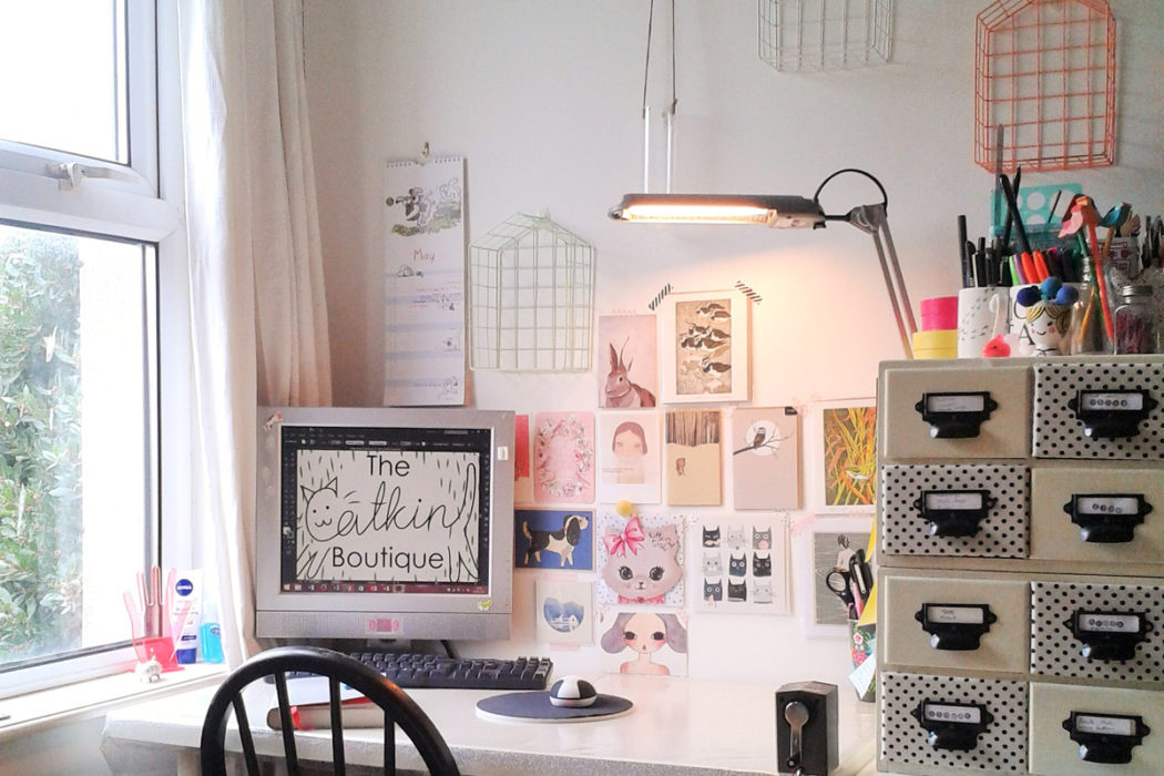studio desk, The Catkin Boutique, illustrated jewellery, cute animal jewellery, interview