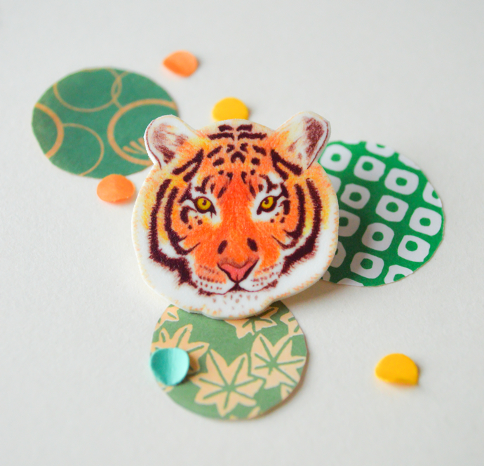 tiger brooch, The Catkin Boutique, illustrated jewellery, cute animal jewellery, interview