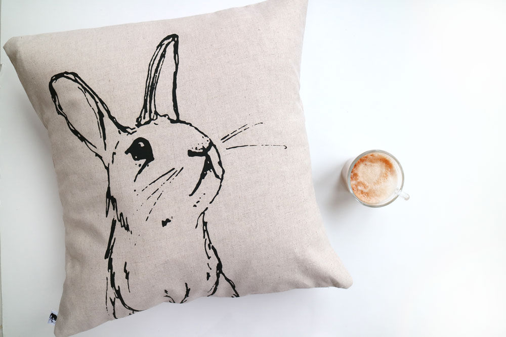 Ellie Press, letterpress printing, letterpress printers UK, rabbit cushion,