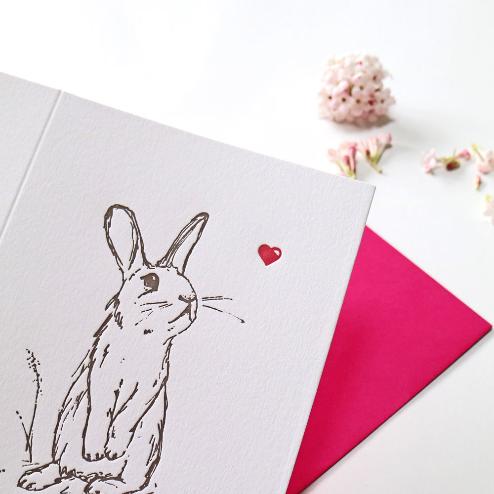 Ellie Press, Bunnies Valentine Cards, Rabbits Valentine Card, letterpress Valentine Card,