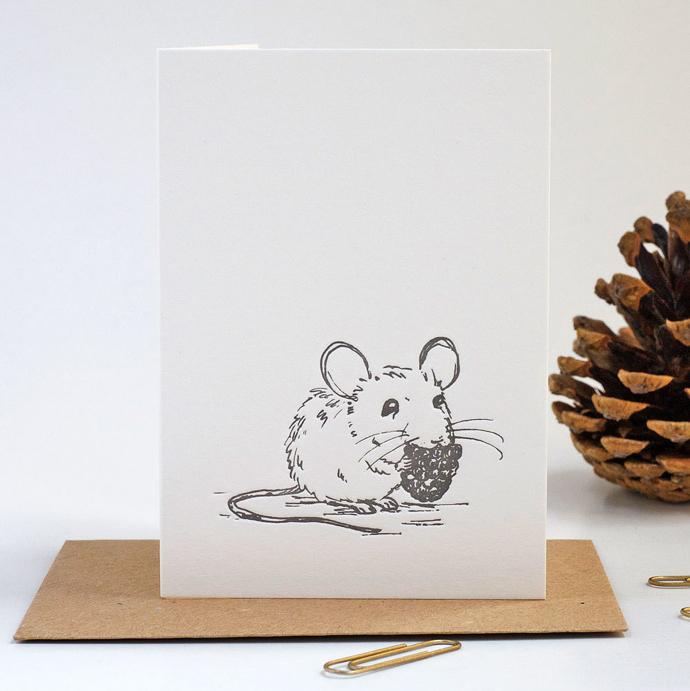 letterpress mouse notebook, Ellie Press