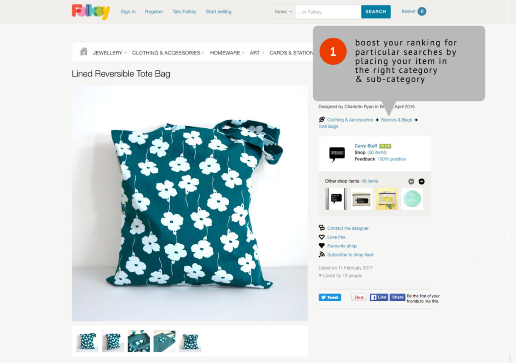 how to get found in the Folksy search,