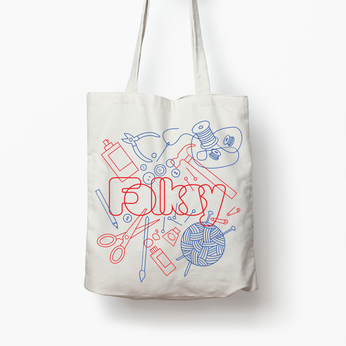 Folksy tote bag, The Catkin Boutique