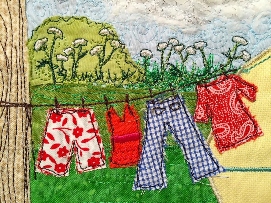 washing on the line picture, Heidi Meier, textile picture, embroidered art, embroidery,