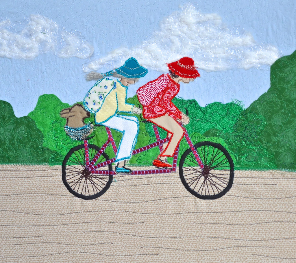 tandem bicycle picture, embroidered tandem, Heidi Meier, textile picture, embroidered art, embroidery,