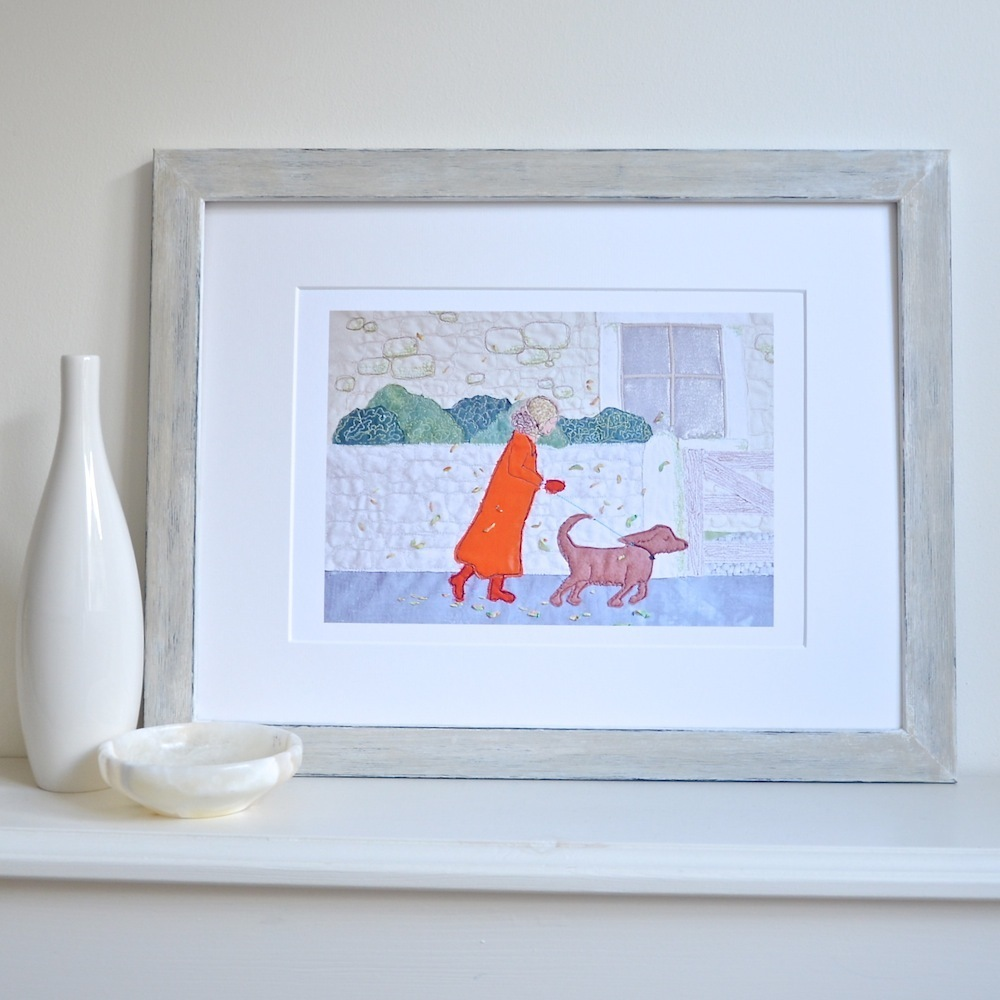 dog walking picture, dog walking art, Heidi Meier, textile picture, embroidered art, embroidery,