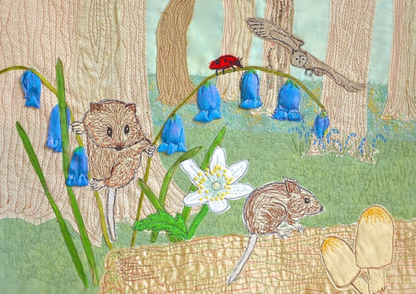 wild mice, dormouse, embroidered artwork, Heidi Meier, textile picture, embroidered art, embroidery,
