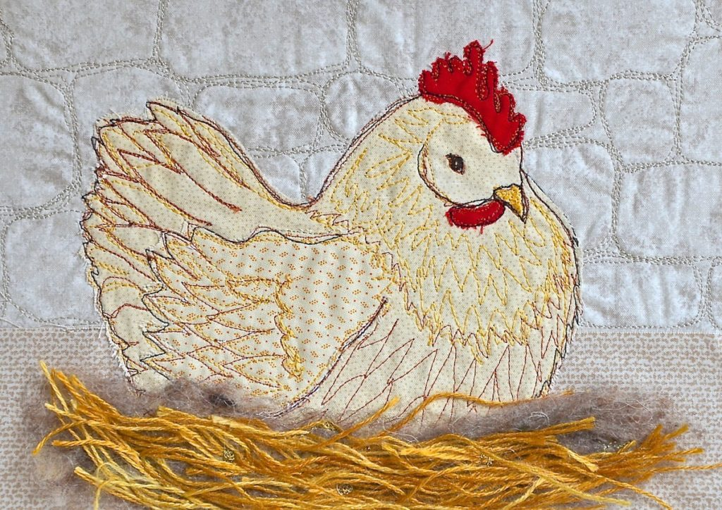 Copper Maran hen, Heidi Meier, textile picture, embroidered art, embroidery,