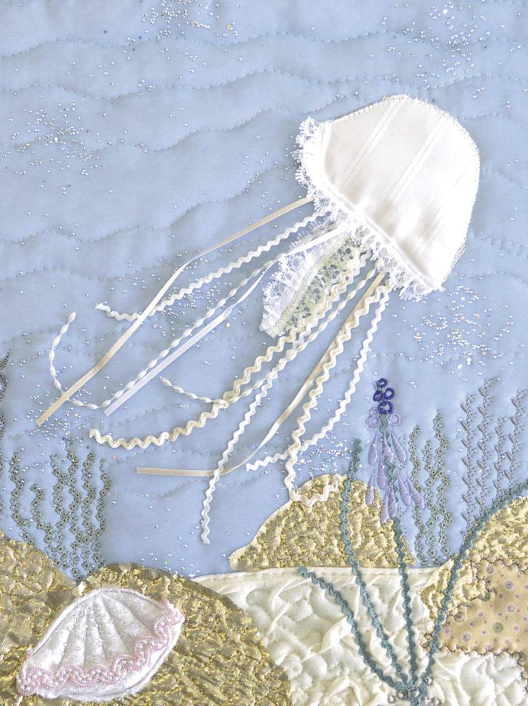 Jellyfish embroidery, Heidi Meier Textiles, Textile Treasures,