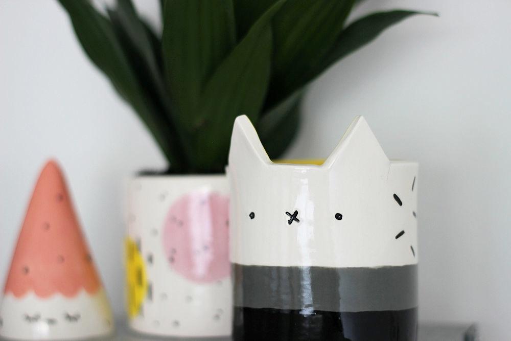 Natko Ceramics, meetthemaker, handmade ceramics, cat pot, cat vase, kitty pot,