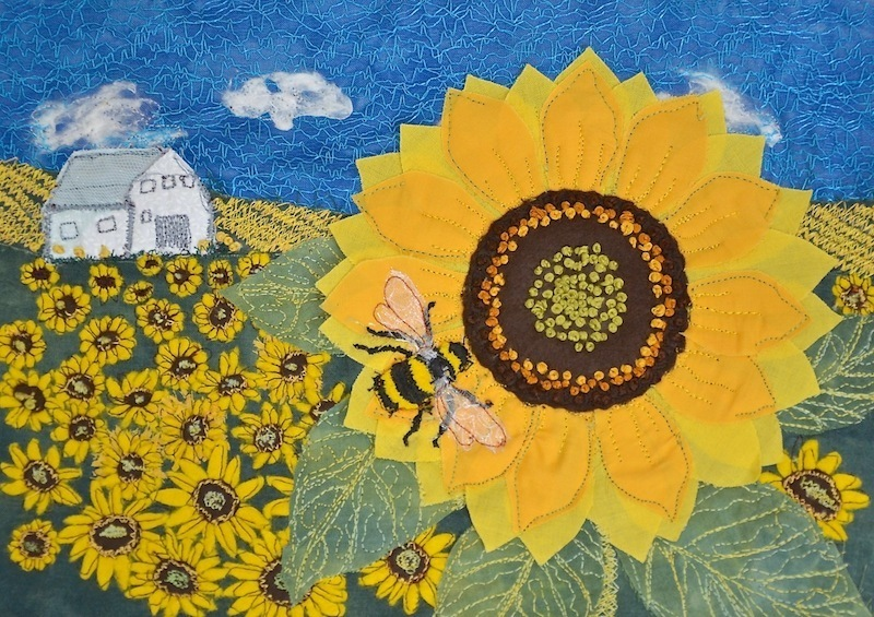 Heidi Meier, textile picture, embroidered art, embroidery, sunflower picture, bee embroidery,