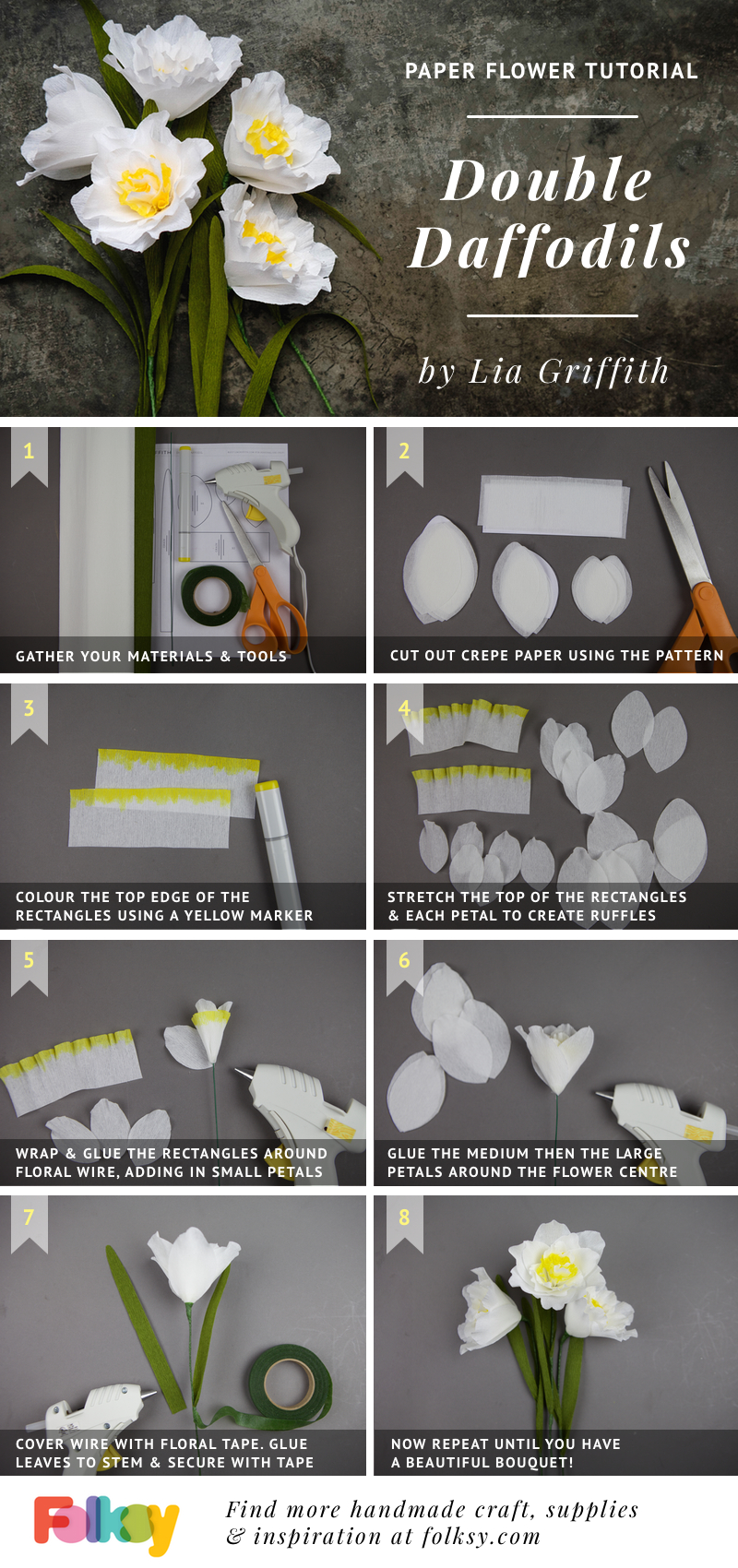 daffodil paper flower tutorial, Lia Griffith, paper flowers, DIT paper flowers,
