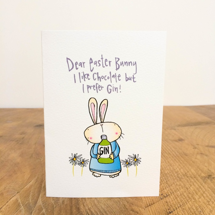 Easter Bunny Gin Card, funny easter card, Hofficraft, Welsh illustrator, interview, Amanda Hartley,