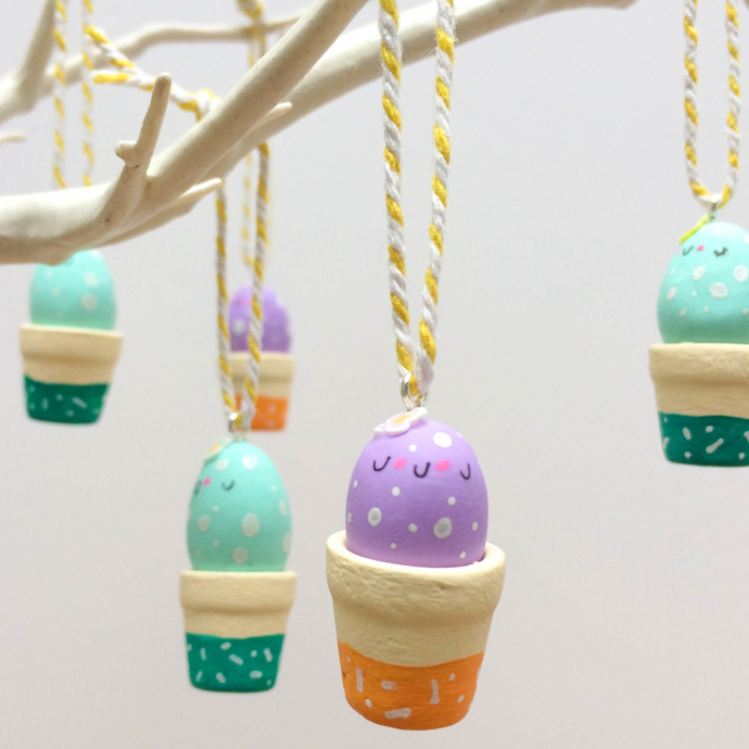 easter egg decorations, hand-painted hanging easter eggs, hanging easter egg decorations, Hofficraft, Welsh illustrator, interview, Amanda Hartley,