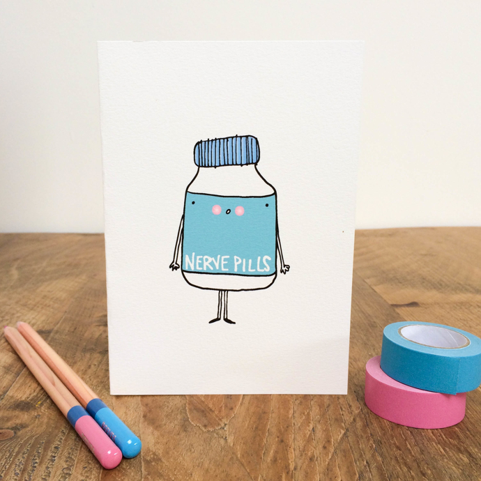 nerve pills, nerve pills card, Hofficraft, Welsh illustrator, interview, Amanda Hartley,
