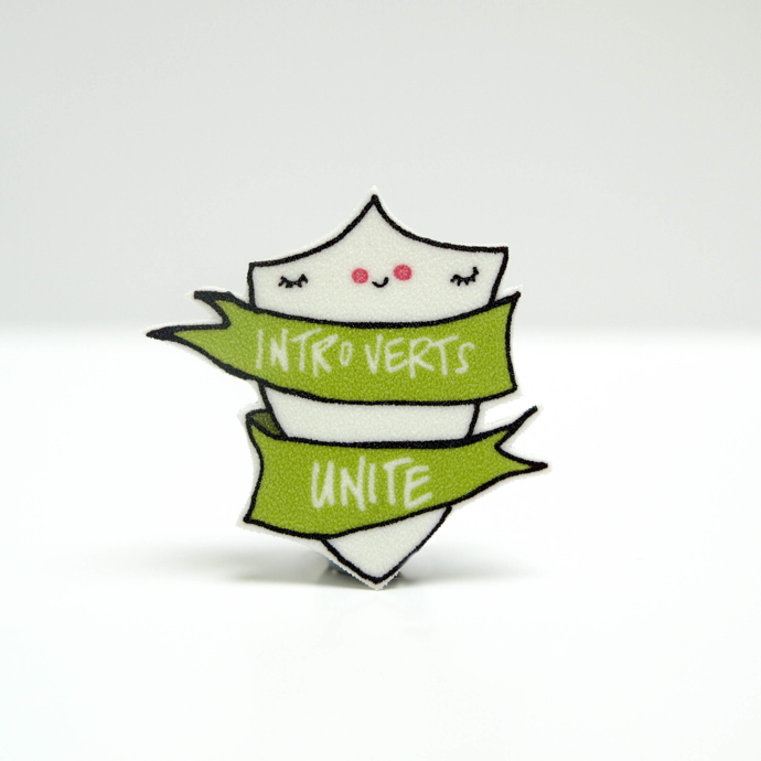 Introverts Unite Pin, Introverts Unite badge, Hofficraft, Welsh illustrator, interview, Amanda Hartley,
