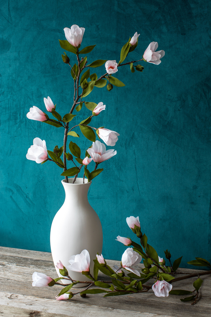 paper flowers, magnolia branch, paper magnolia, lia griffith,