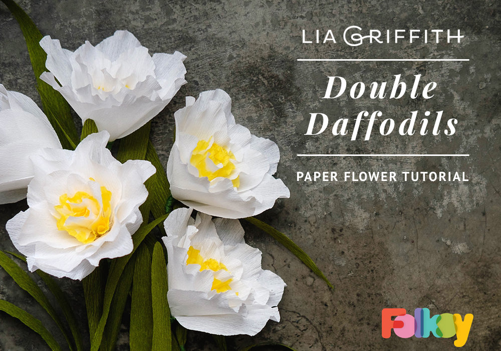 paper flower tutorial, paper flowers, DIY paper flowers, paper daffodils, paper narcissi, crepe paper flowers,