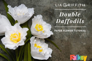 Paper flower tutorial – crepe paper double daffodils by Lia Griffith