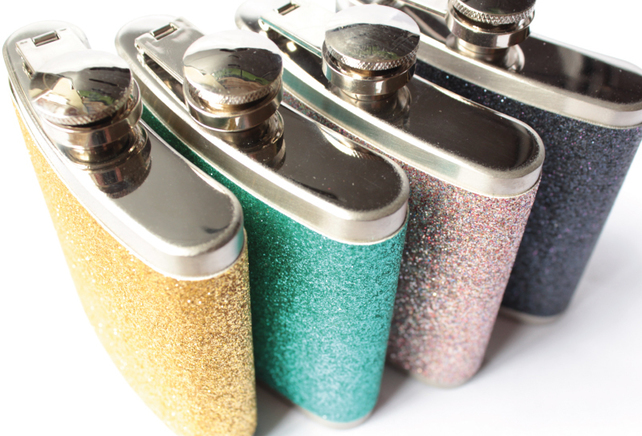 glitter hipflask for bridesmaids