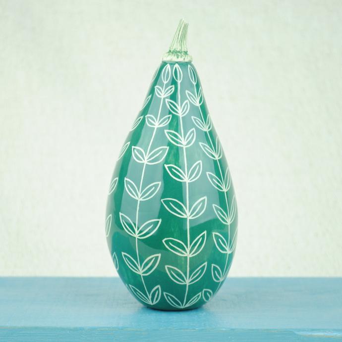 Ceramic squash, ceramic gourd, decorative ceramics, Kath Cooper, British pottery,