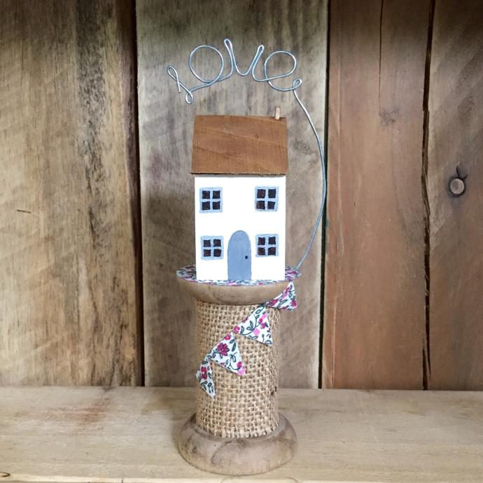 Julie Love Little Works of Art, Julie Love, wooden birds, wooden houses, housewarming gifts, house on a bobbin,