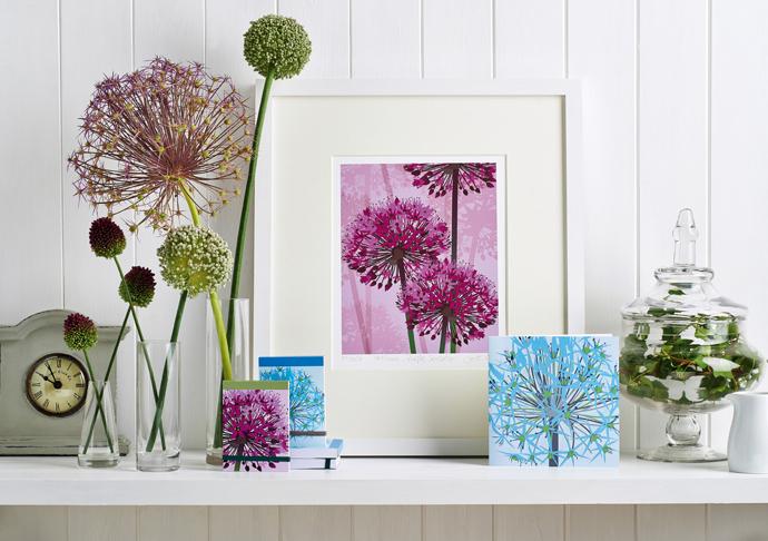 Jane Crick, floral illustration, gift wrap designer, designer gift wrap, allium print, allium card, alliums greeting cards,
