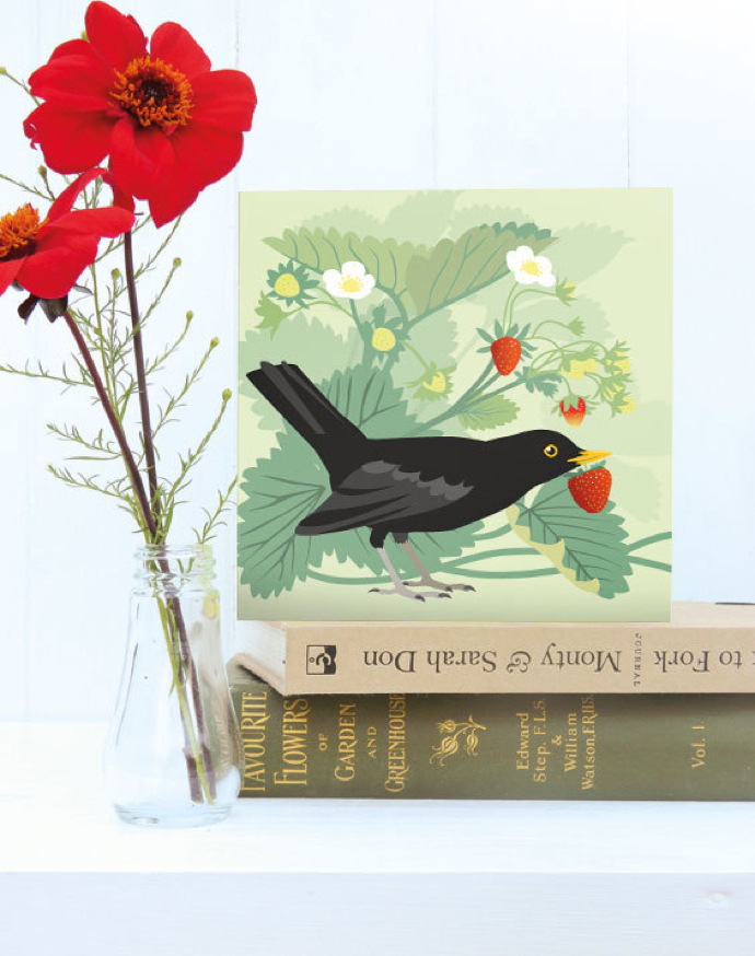 Blackbird card, Jane Crick, Strawberry Thief,