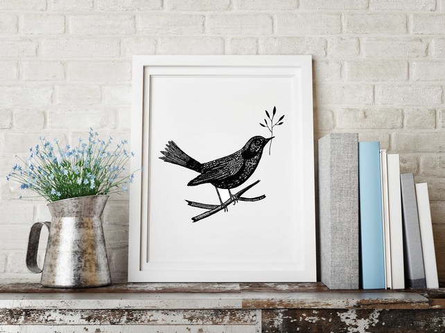 Mhairi-Stella Illustration, folk bird illustration,