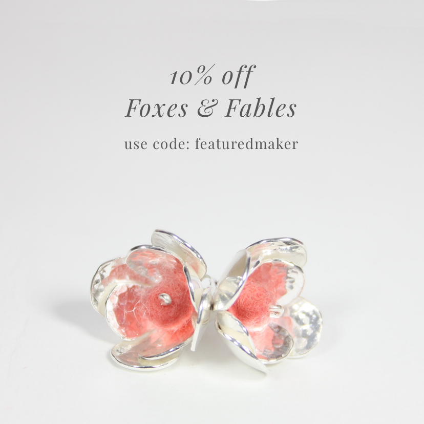 handmade jewellery offer, foxes and fables jewellery discount code,