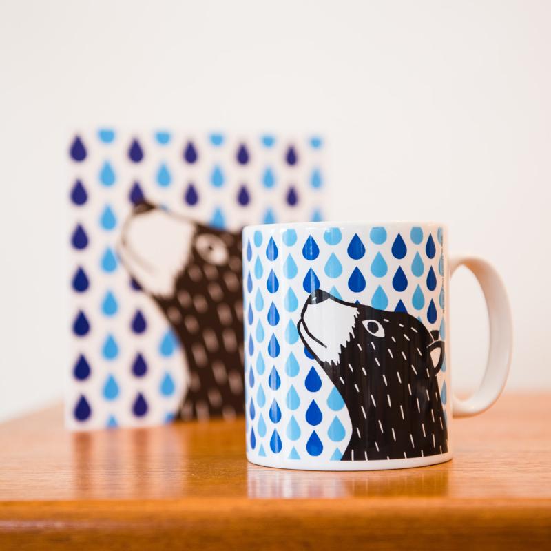 bear mug, bear and raindrops mug, the owlery, screen printing, printmaker, screen prints, Benjamin Partridge,