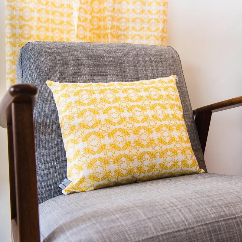 bee cushion, the owlery, screen printing, printmaker, screen prints, Benjamin Partridge,